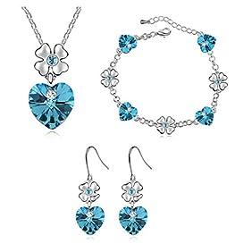 Silver-tone Flower Love Heart Swarovski Elements Jewelry Set, Australia Import Crystal Necklace, Bracelets, Earrings Ensemble Fashion Jewelry