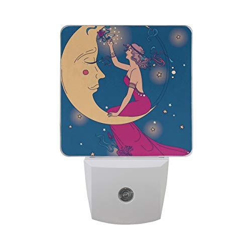 LED Night Light Auto Dusk to Dawn Sensor, Beautiful Poster In Art Nouveau Style With Party Woman And Moon Starry Sky Plug in Night Light for Bedroom Bathroom Hallway Stairways Or Any Dark Room, 2 Pack