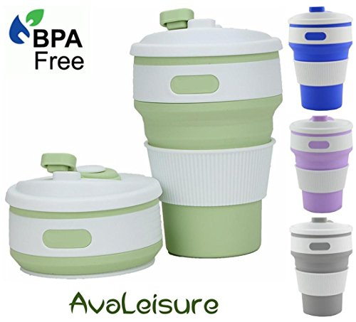 AVALEISURE Collapsible Coffee Mug - a Foldable 12oz Drinking Cup with Lid for Water, Coffee, Tea, Soft Drinks, Ideal for Camping, Travel, Hiking, Picnic, Lunch (Matcha Green)