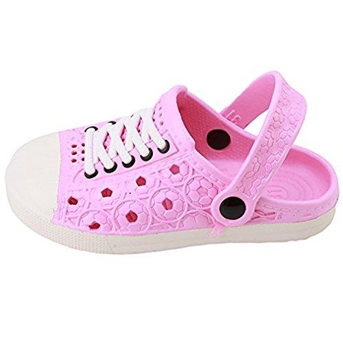 Hengsong Kinder Clogs Hausschuhe Pantoletten in versch Größen EVA-Clog Unisex Kinder Gartenschuhe Bade Schuhe Sandalen (Asian size 23, Rosa)