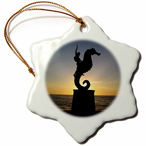3dRose Krista Funk Creations Mexican Sunsets - Puerto Vallarta Malecon Boy on Seahorse Statue Silhouetted Against Sunset - 3 inch Snowflake Porcelain Ornament ()