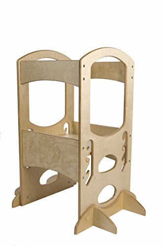 tower natural adjustable height kitchen step stool for toddlers
