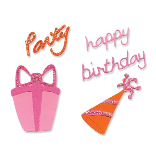 Dies Sizzlits 4 (Sizzix 654472 Sizzlits Die Set 4-Pack, Birthday Set #2 by Emily Humble)