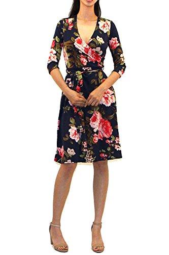 Vivicastle Women's Printed V-Neck 3/4 Sleeve Faux Wrap Waist Tie Midi Dress (R15, Medium)
