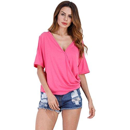 Manga Mujeres Top Rosa Camiseta Blusa Más Verano Puro Vovotrade® De Sólido V Corta Cuello Color Camisa w4RnzFxq