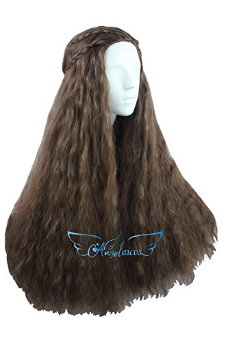 Angelaicos Women's 70cm Lolita Fluffy Wavy Party Sexy Hair Full Wig Long (Brown (Brown Long Wig With One Braid)