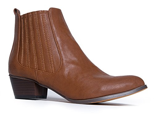J. Adams Talon Bas Élastiqué Bottine - Slip Sur Talon Empilé Bootie - Chaussure Confortable Western - Henri By Tan Pu
