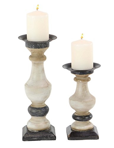 Deco 79 98180 98180 Candle Holder,  White/Black