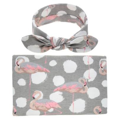Grey Swaddle with Pink Flamingos and Matching Headband
