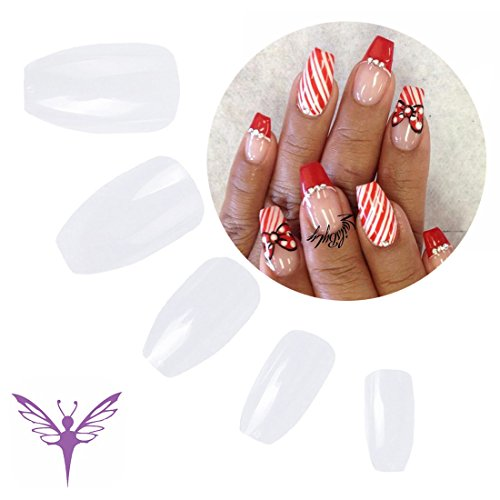Ejiubas Coffin Fake Nails Clear Color Full Cover Artificial Nails for Christams Gifts, 500 Pcs with Clear (Coffin Shaped)