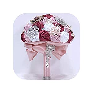 Wedding Bouquet Silk Rose Crystal Wedding Flowers Brooch Beaded Buque Bridal Bouquets 84