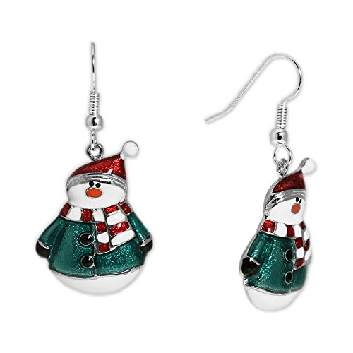 Fat Snowman - Fat Snowman in Green Jacket & Santa Hat Earrings in Silver Tone, Celebrate the Holidays, Christmas
