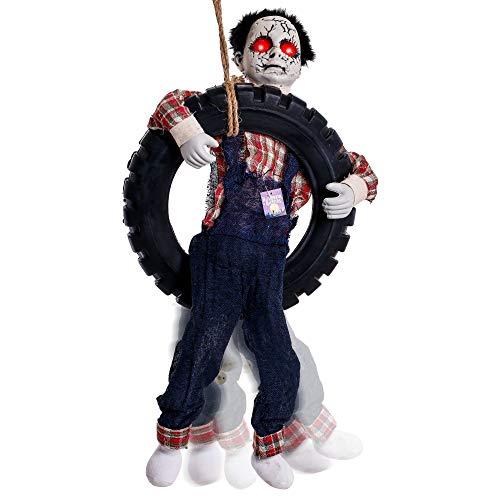 Swinging Skeletal Boy Creepy Prop Animated Talking Halloween Decoration