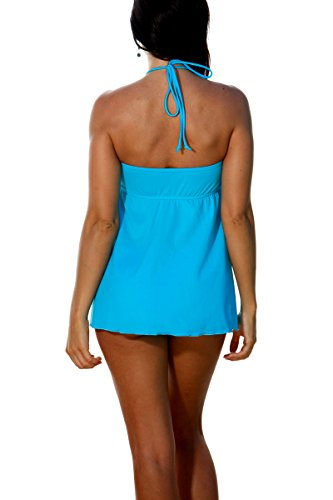 934b8ad826539 Blue Sky Swimwear Women s Drape Front Tankini Top Solid Turquoise (Top Only)