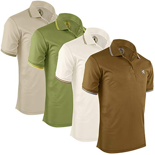 Albert Morris Mens Short Sleeve Polo Shirts 4 Pack, Striped Valor Collection - - Shirt Mens Collection