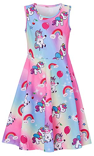 BFUSTYLE 8yr Old Girl Dresses Cute Unicorn Balloon Star Cherry Dress for Kids Girls Spring Stylish Birthday Gift Garment Rainbow Stripe Printting Crewneck Fancy Dress 8-9 ()