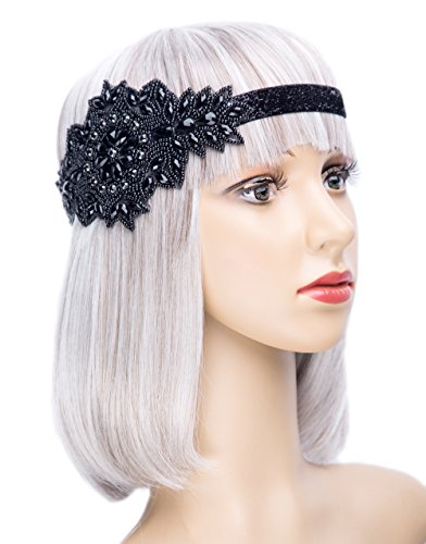 Roaring 20s Vintage Headpiece Black Silver Art Deco 1920s Flapper Headband Headpiece (Black)