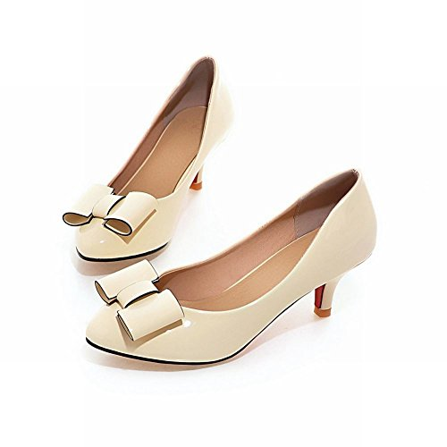 Latasa Womens Fashion Bow Mid-heel Dress Casual Pumps Shoes Beige YtQwxmgiim