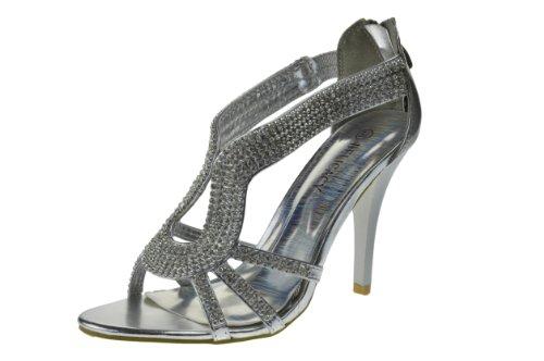 Queen 72 Womens Rhinestone Event Dress Sandals Silver 8vimp4eff