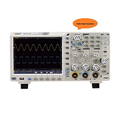 OWON XDS2102A oscilloscope 12bits high resolution 100MHz bandwidth, 1GS/s sample rate 55,000 wfms/s refresh rate standard with with VGA standard SPI/I2C/RS232/CAN serial bus decoding