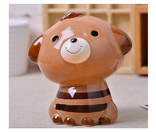 - eSTAR Ceramic Cute Dog Doggie Piggy Money Saving Coin Bank for Kids, Birthday Party (Coffee Stripe)