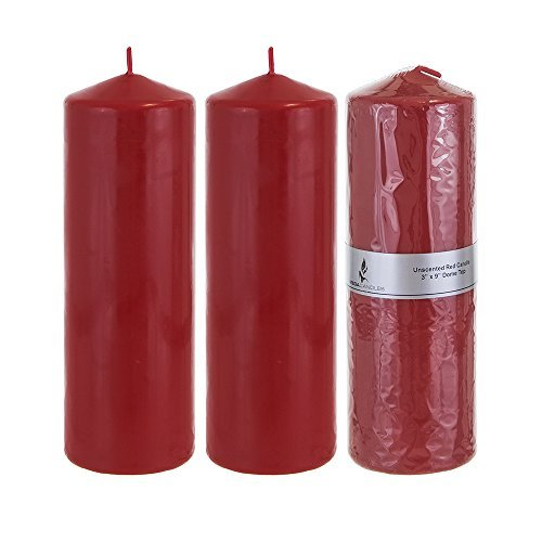 """Mega Candles - Unscented 3"""" x 9"""" Round Pillar Candle - Red,"""