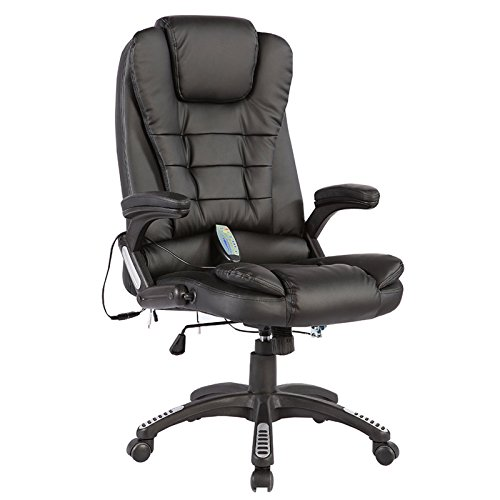 Mecor Heated Office Chair-High-Back Ergonomic Executive Office Chair w/6 Point Massage Function-PU Leather Computer Chair w/360 Degree Adjustable Height & Armrest (Black) (Massage Heated Chair)