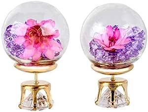 Glass Ball Real Flower Stud Earrings, Dry Flowers Earrings