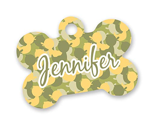 - RNK Shops Rubber Duckie Camo Bone Shaped Dog Tag (Personalized)