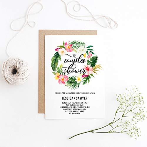 Dozili Tropical Invitation Watercolor Tropical Floral Wreath Couples Shower Invitation Summer Couples Shower -