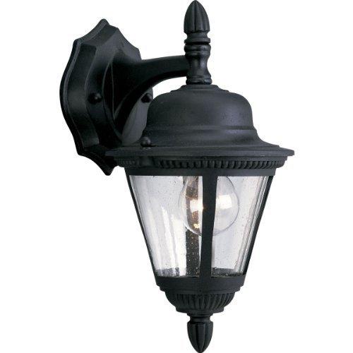 - Progress Lighting P5862-31 1-Light Cast Wall Lantern with Clear Seeded Glass, Textured Black by Progress Lighting