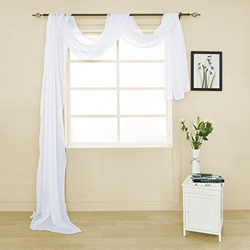HOLKING Sheer Panel Curtains Scarf-Home Decor Window Sheer Valance Voile Scarf 1 Piece,52 inches wide by 216 inches long,White Scarf Valance