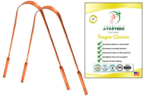 Tongue Scraper For Daily Oral Hygiene - Tongue Cleaner For Halitosis Treatment, Toxic Removal & Fresh Breath - A Must Have Yoga Essential To Get Benefits Of Copper (2 Pack Copper Handle)