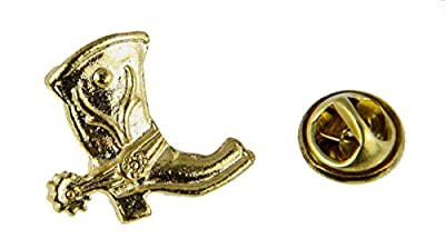 6030248 Western Cowboy Boot with Spur Lapel Pin Tie Tack Brooch Cowgirl