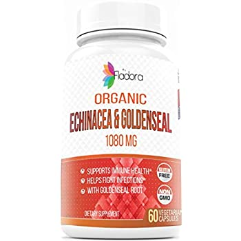 Organic Echinacea and Goldenseal, 1080mg (Healthy Immune Function & Wellness Formula) 60 Vegetarian Capsules by Fladora, Herbal Multivitamin Supplement ...