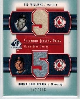 2003 SP Authentic Splendid Swatches Pairs #NM1 Ted Williams / Nomar Garciaparra (Nomar Garciaparra Red Sox)