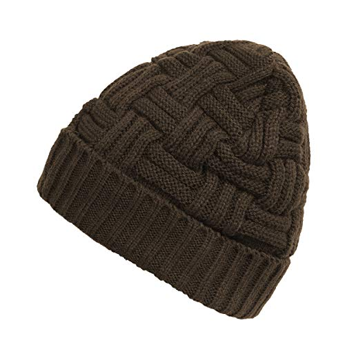 Zando Men's Winter Slouchy Beanie Hat Warm Knit Cap Wool Baggy Skull Cap Soft Knitted Caps Thick Beanie Hats for Men Coffee One Size