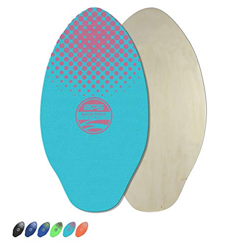 BPS 'Gator' 30 Inch No Wax Needed Skimboard - High Gloss Coated Wood Skimboard with EVA Pads - Skim Board for Beach or Flatland (Flourescent Blue w/Magenta Accent)