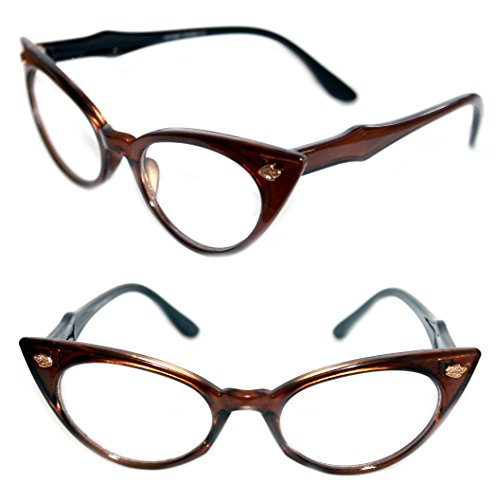 Women's Cat eye Frame 50's Vintage Retro Fashion Classic Small Clear Lens Eye Glasses (Brown, Clear) (Vintage Eyeglass Frames)