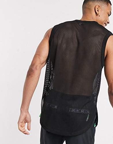 エイソス タンクトップ ノースリーブ アームホール メンズ ASOS DESIGN longline tank vest with curved hem in black mesh [並行輸入品]
