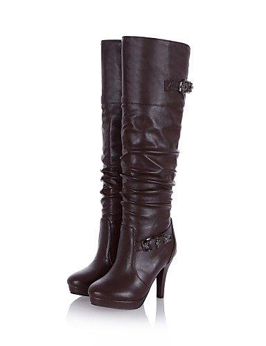 Zapatos Moda Casual De Cn34 Black 5 Botas Xzz Cn38 Vestido Eu38 La Marrón Punta Mujer Black Uk3 Negro Eu35 Redonda Stiletto Tacón Semicuero 5 us5 A Uk5 us7 vdwawU7