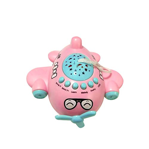 tive Early Childhood Education Starry Sky Projection Story Machine Small Aircraft Music Toy (Pink) ()