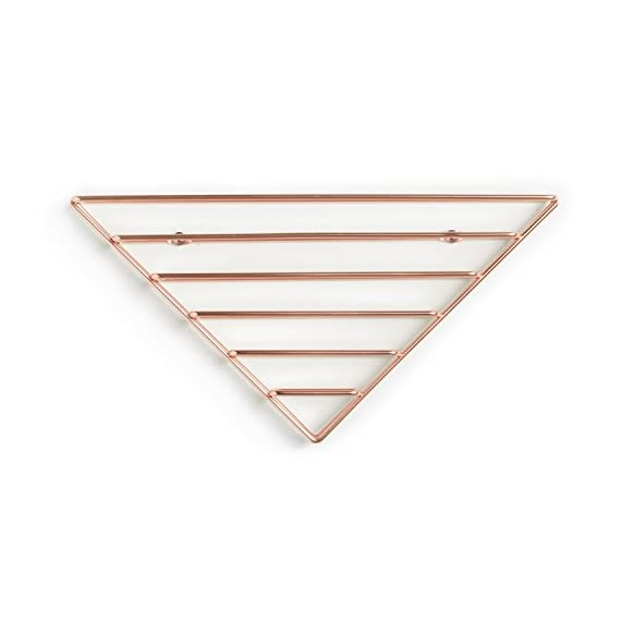 Umbra Strum Wall Shelf, Copper - ATTRACTIVE MODERN DESIGN: Strum is a contemporary brass shelving wall solution that can be used to add a modern decorative touch to your space, thanks to its wire metal material, clean lines and edges USE MULTIPLE TO CREATE A PATTERN: Mounts in three different orientations to create simple and clean-lined patters. Strum is the perfect way to tidy your living space, great for adding books, magazines, stationary, records and note pads to a floating wall shelf. LIGHTWEIGHT & EASY TO HANG: Strum comes complete with easy to follow instructions, screw caps and all the necessary hardware required to mount it to virtually any wall in just minutes - wall-shelves, living-room-furniture, living-room - 41ZSQzo6yFL. SS570  -