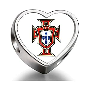 Sterling Silver Uefa Euro Portugal National Soccer Team Heart Photo Charm