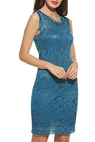 Zilcremo Mujer Elegante De Encaje Sin Mangas Cã³Ctel Vestido Bodycon Parte Azul
