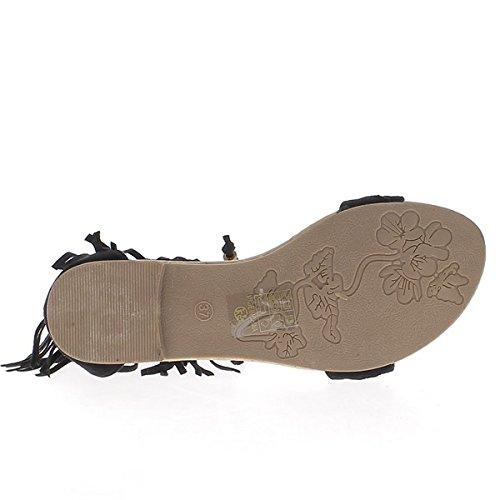 Schwarze flache Sandalen zu Band 1 cm Blick Wildleder mit Fringe und Spitzen Köpergewebe