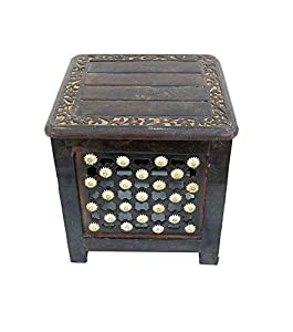 Online Collection Decorative Wooden Stool Brown Size (LXWXH - 35x35x35cm)