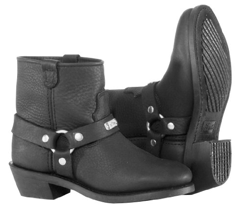 (River Road Womens Lo-Cut Ranger Harness Motorcycle Boots Black)