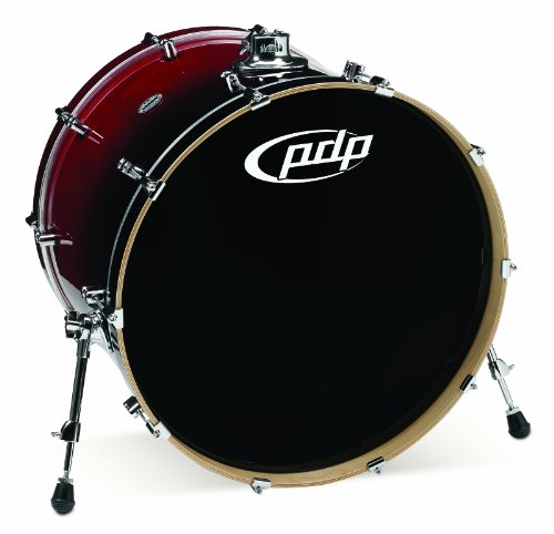 Chrome Fade Red Hardware - Pacific Drums PDCM1824KKRB 18 x 24 Inches Bass Drum with Chrome Hardware - Red to Black Fade