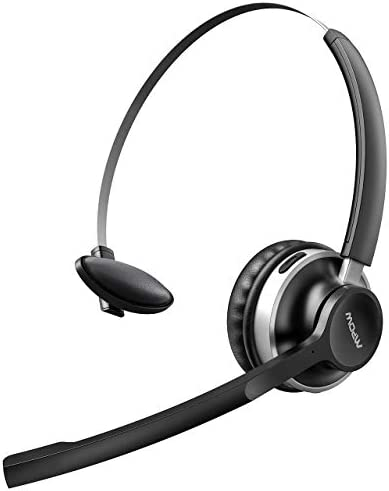 Mpow HC3 Bluetooth Headset V5.0 Dual Microphone Wireless Headphones for Truck Driver OfficeCall CenterCell Phone,Noise Canceling Single On Ear Headset(Wired Option)